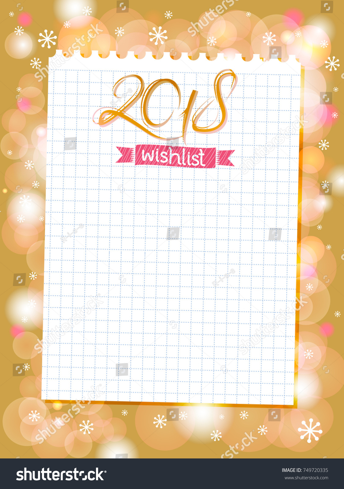 stylish inspirational wishlist with note paper and golden festive lights vector holiday background christmas