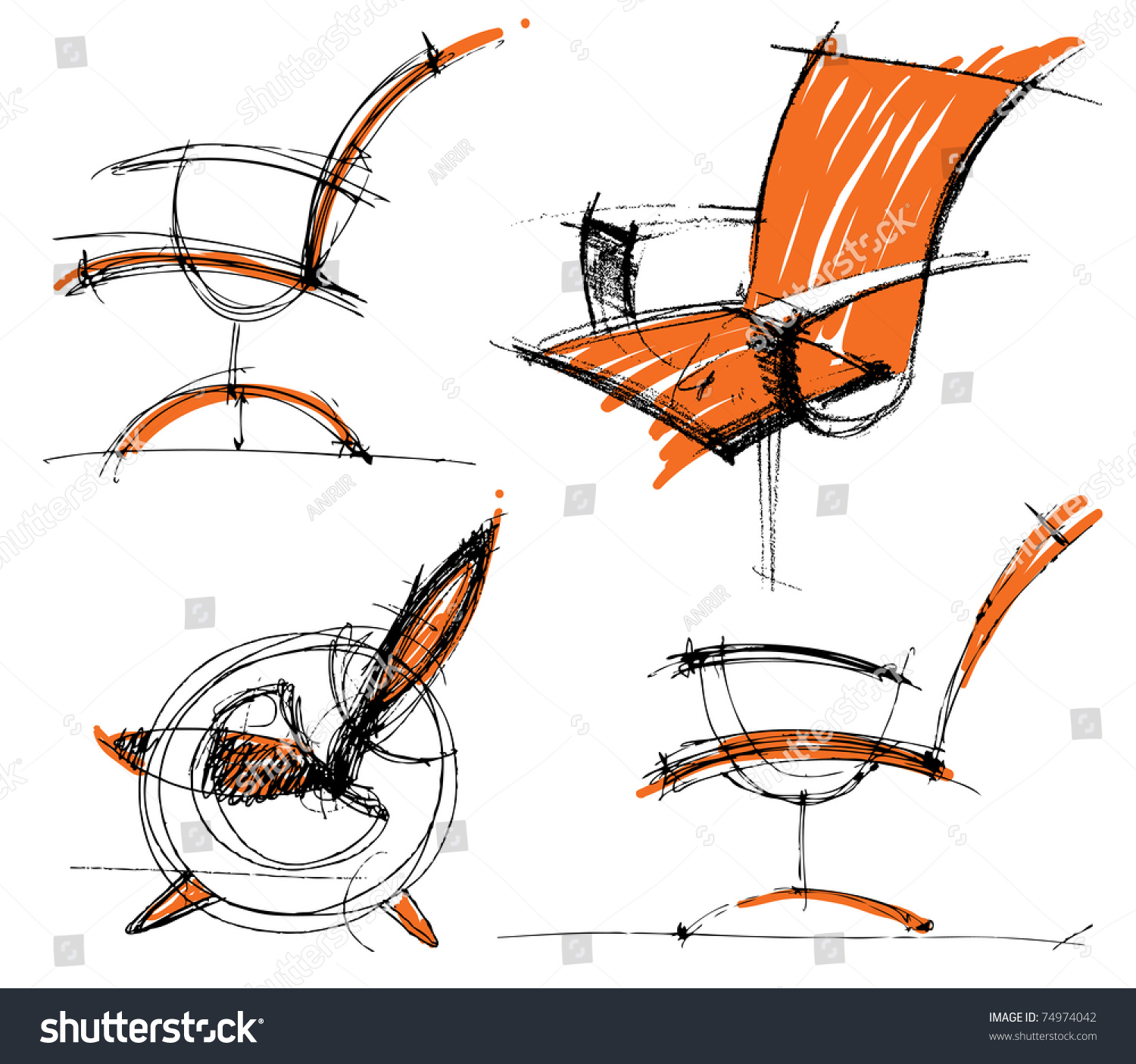 Furniture Sketches Sketches Furniture Stock Vector 74974042 Shutterstock