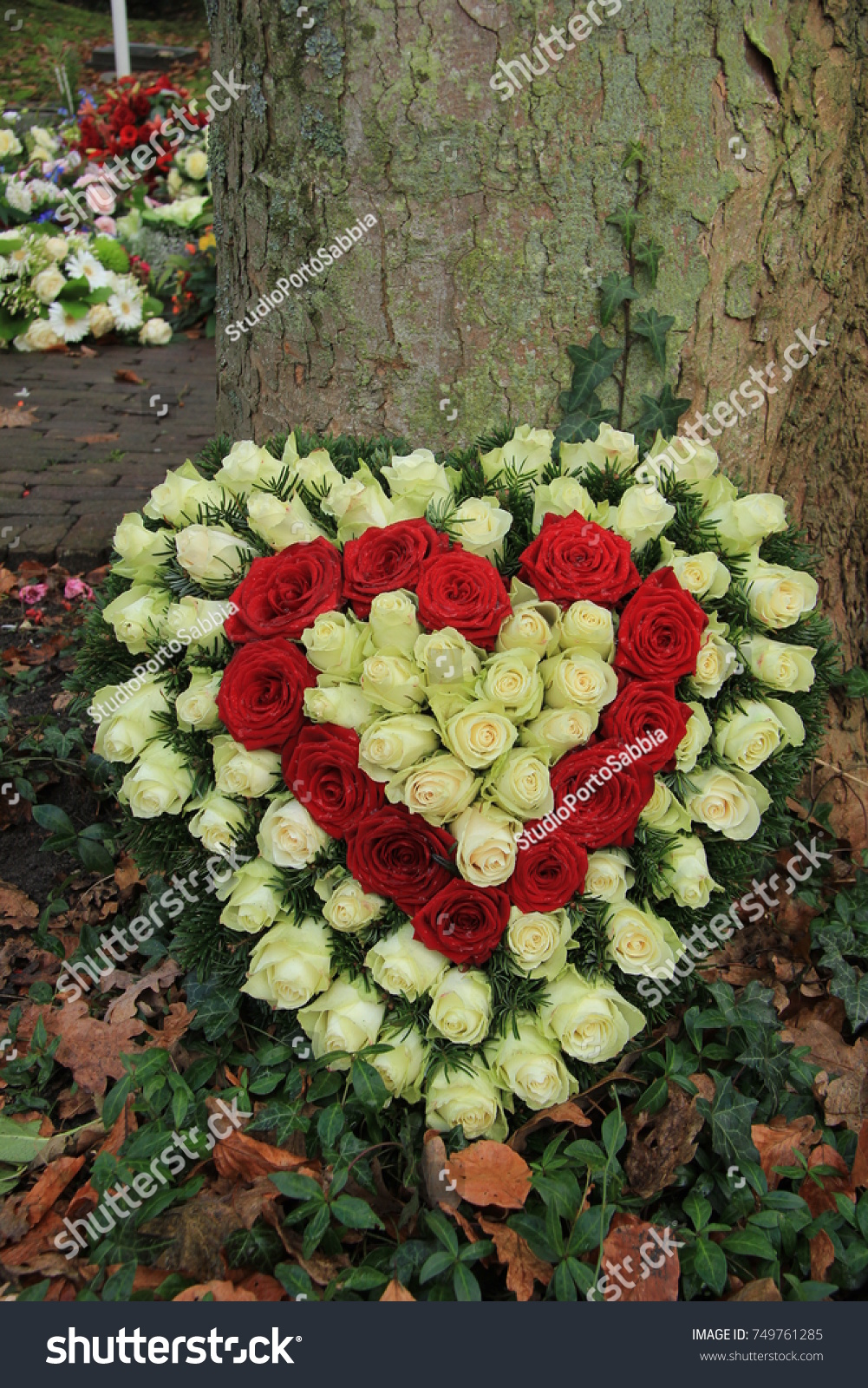 Red white heart shaped sympathy flowers stock photo royalty free red and white heart shaped sympathy flowers or funeral flowers near a tree izmirmasajfo Image collections