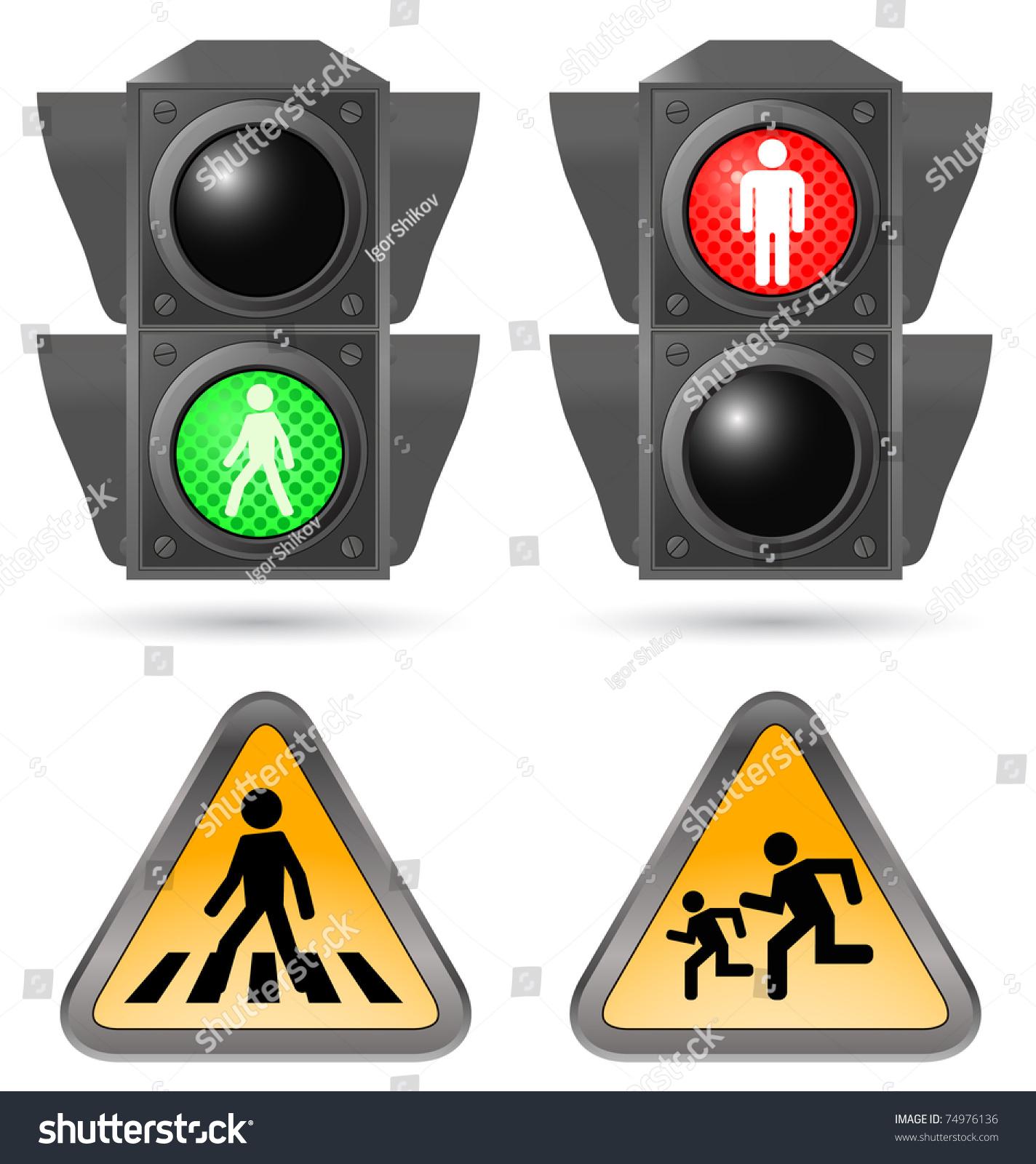 Traffic Light Road Sign Stock Vector 74976136 - Shutterstock