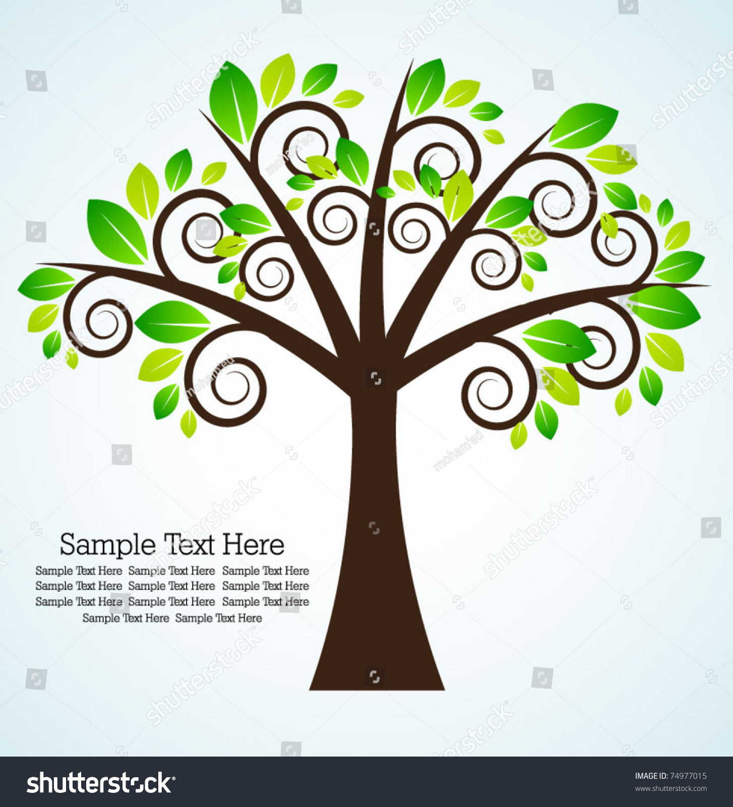abstract green tree template stock vector 74977015 shutterstock