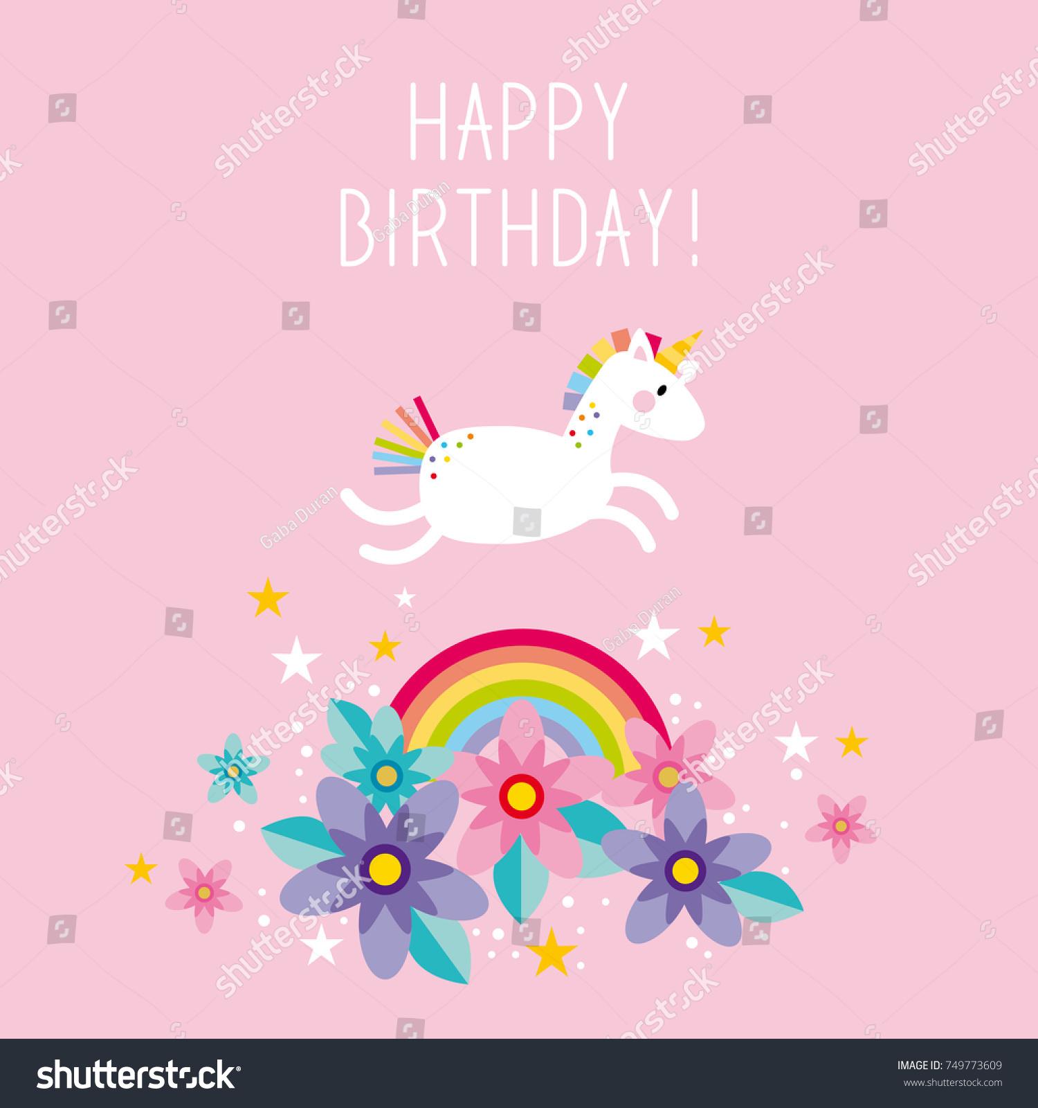 Unicorn Rainbow Happy Birthday Card Invitation Image Vectorielle De