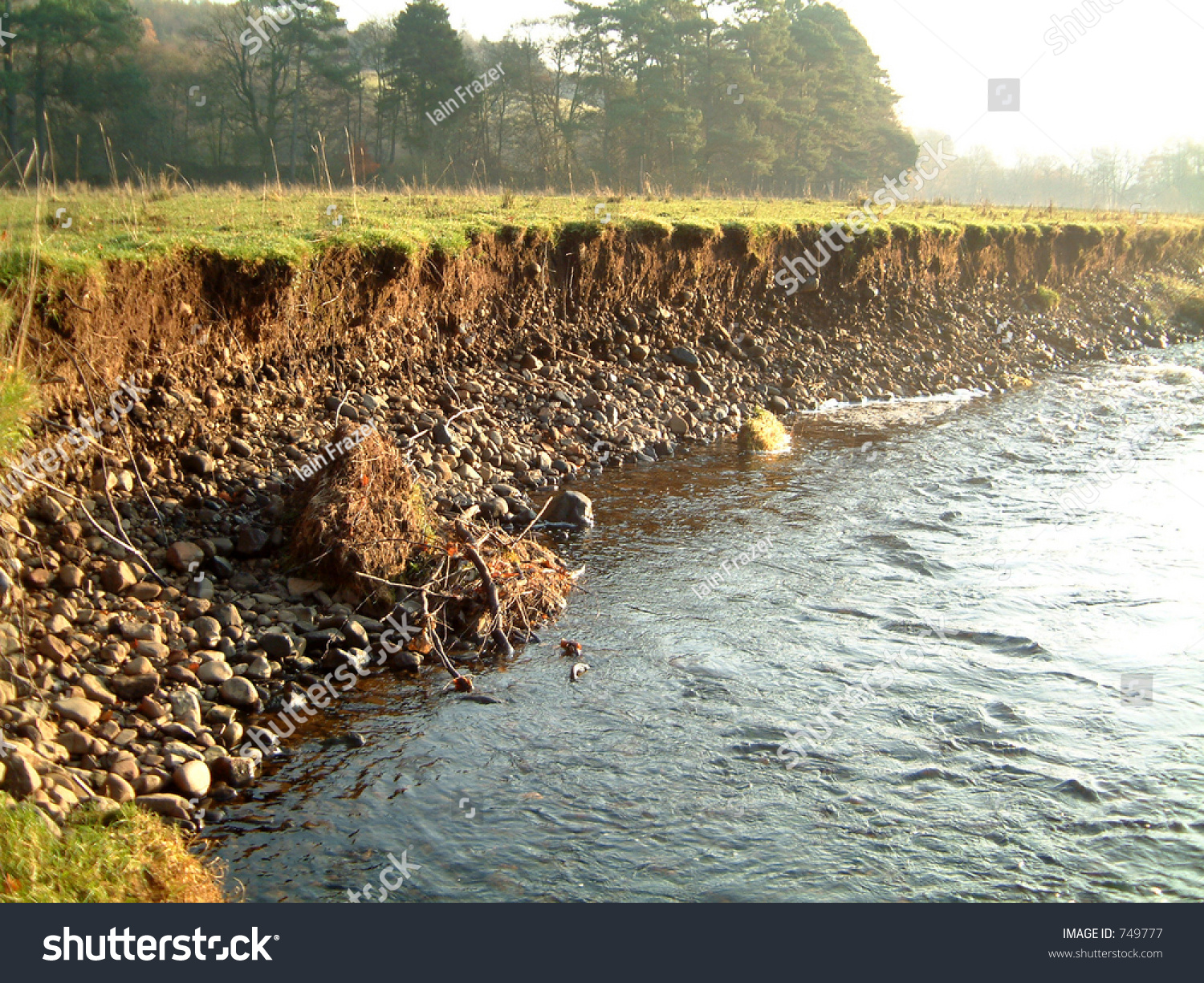 Riverbank On River Endrick Showing Signs Stock Photo 749777 ...
