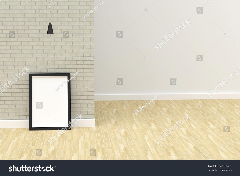 3 D Rendering Room Black Frame Lamp Stock Illustration 749811661 ...