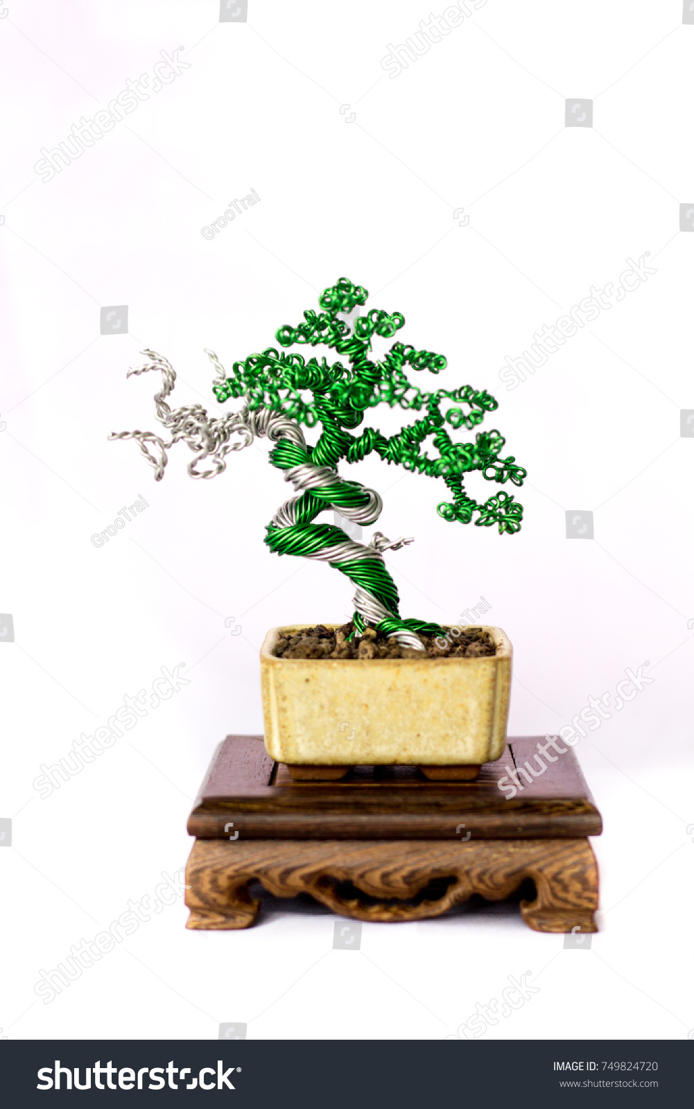 Tree Japanese Juniper Bonsai Simpaku Making Stock Photo Edit Now Wiring In From Wire On White Background