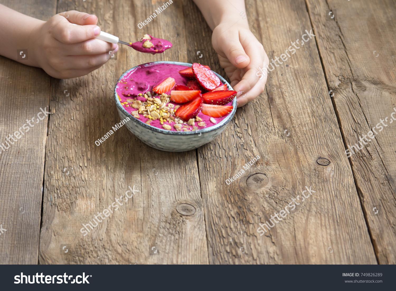Eating Healthy Breakfast Bowl Acai Smoothie Stock Photo