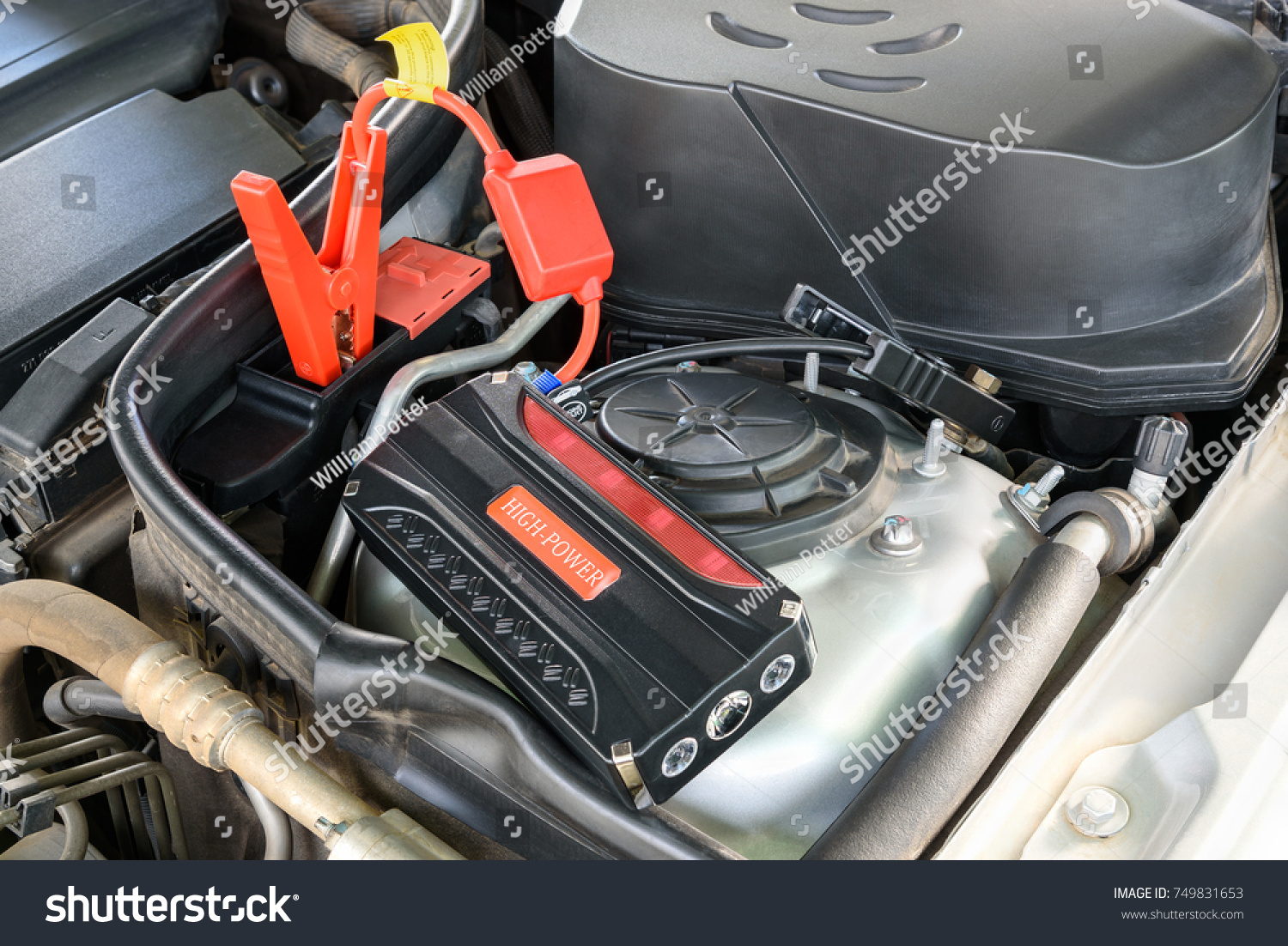 Charging Car Battery Battery Maintenance Concept Stock Photo Edit