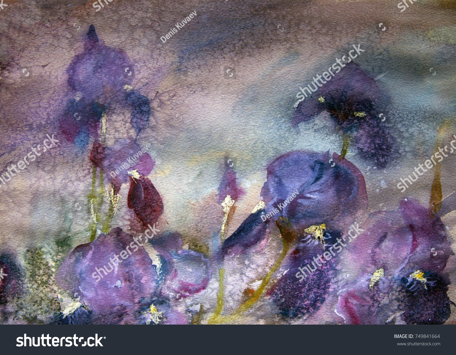 Abstract Watercolor Painting Iris Flowers Stock Illustration