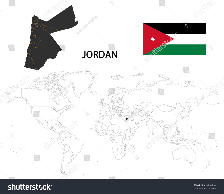 Hashemite Kingdom Jordan Map On World Stock Vector (Royalty Free ...