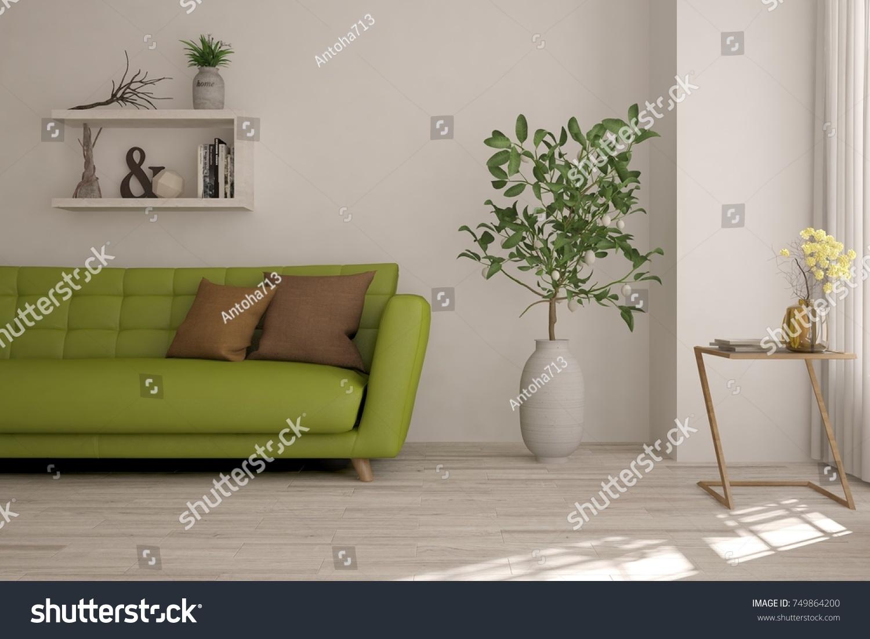 Idea White Minimalist Room Green Sofa Stock Illustration 749864200