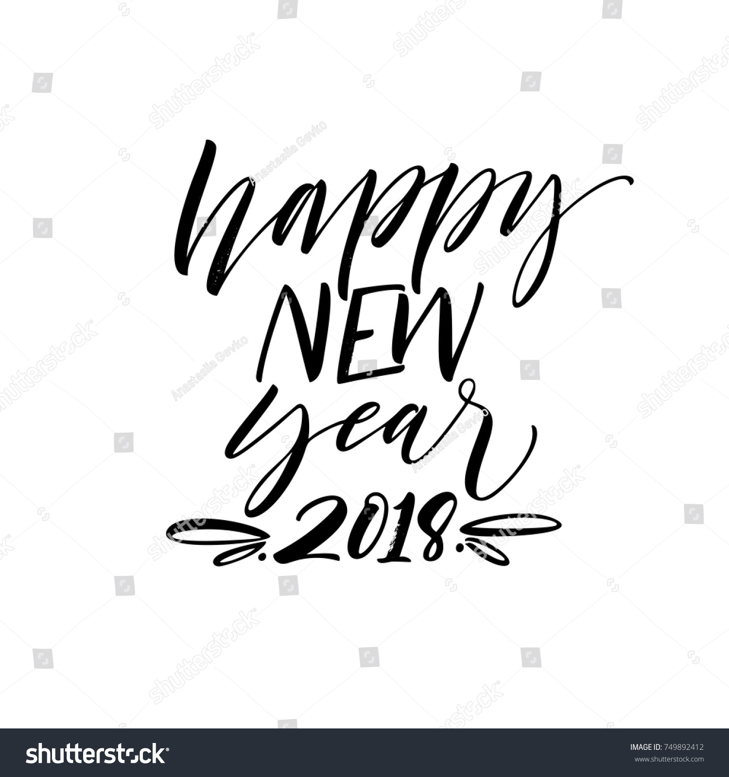 Happy New Year 2018 Phrase Holiday Stock Vector 749892412 - Shutterstock