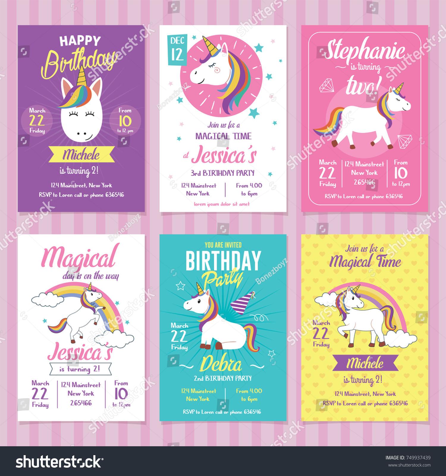 Set Unicorn Birthday Invitation Cards Stock Vector Royalty Free