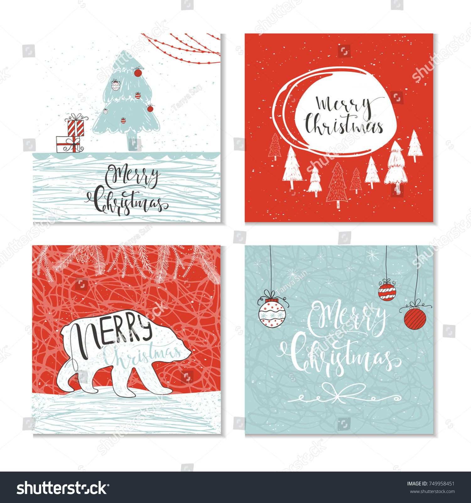 Set Of 4 Cute Christmas Gift Cards With Animals Lettering Quote Merry Hand