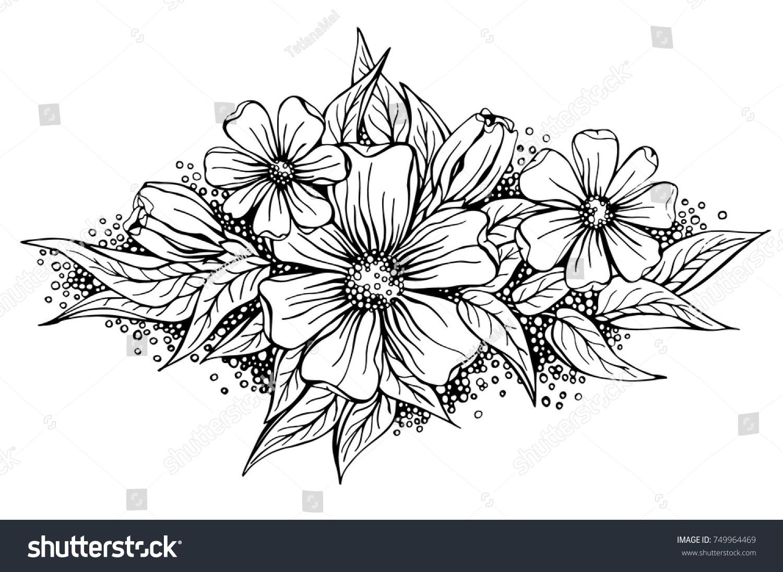 Beautiful Flower Arrangement Black Outline On Stock Vector Royalty