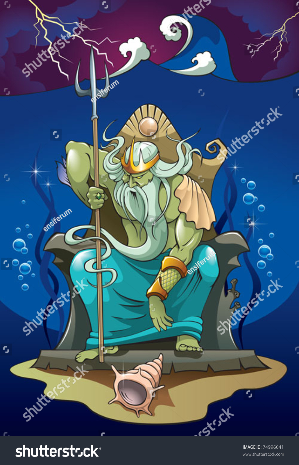 Poseidon Neptune God Sea Earthquakes Greek Stock Vector 74996641 ...