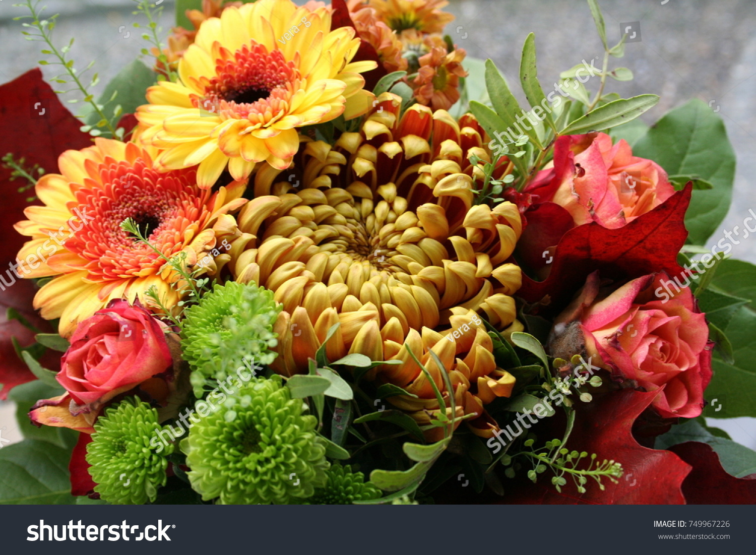 Autumn Bouquet Roses Chrysanthemum Other Beautiful Stock Photo Edit