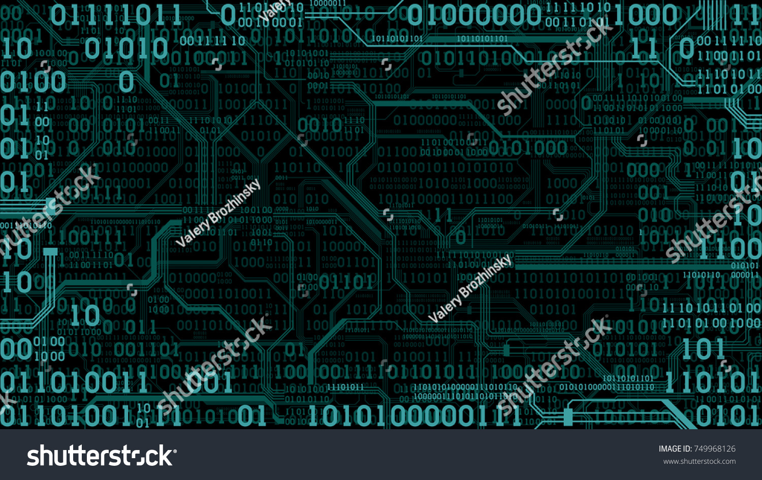 Abstract Futuristic Electronic Circuit Board Binary Stock Code On With Computer Digital Technology Background Frame