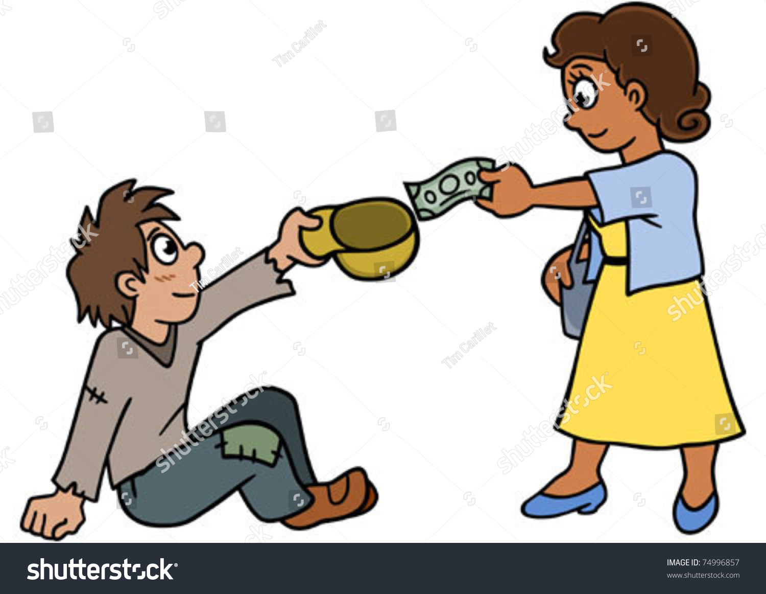 woman donating someone need stock vector 74996857
