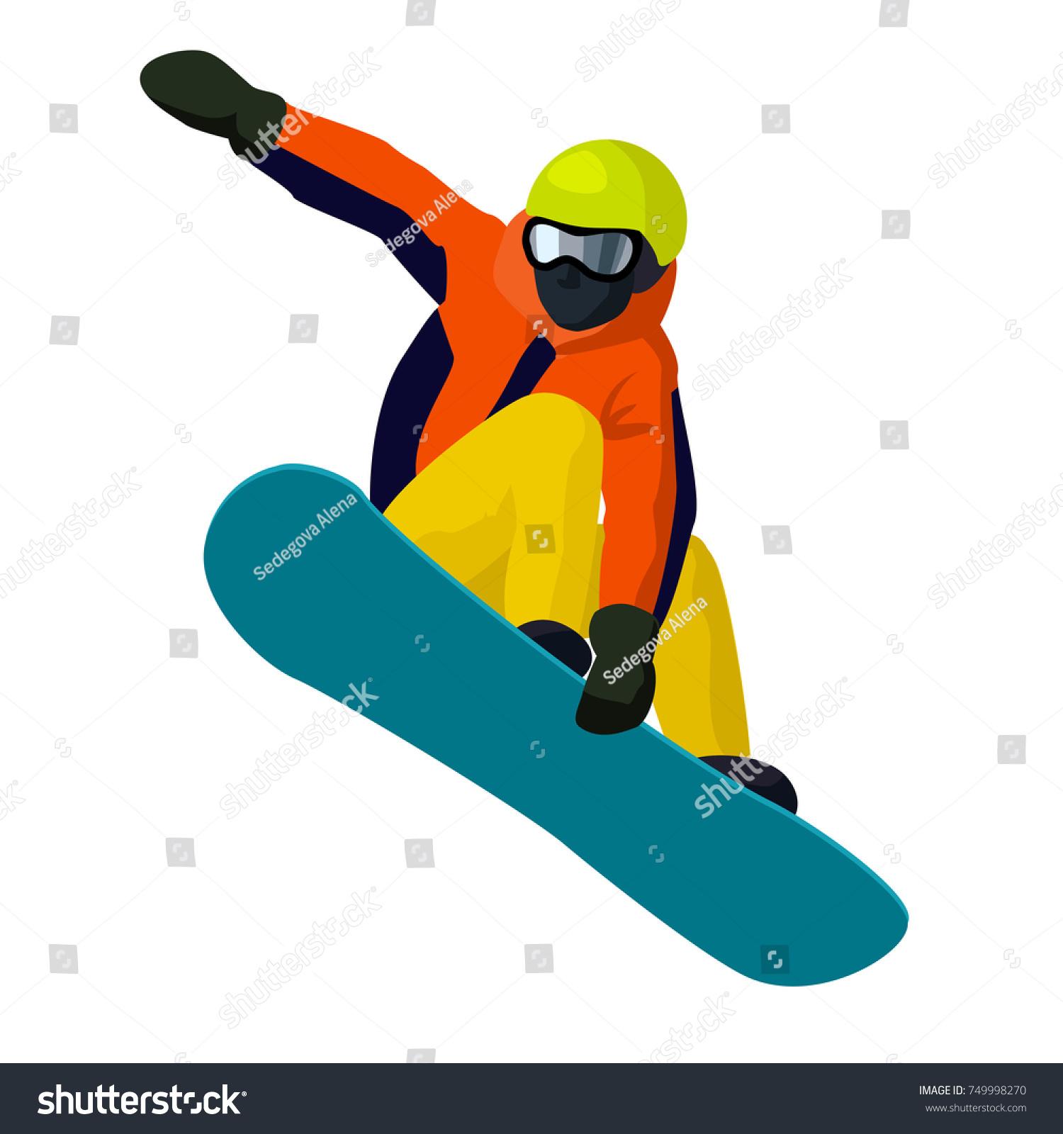 Vector Flat Cartoon Snowboarder Jumping Cartoon Stock Vector Royalty Free 749998270