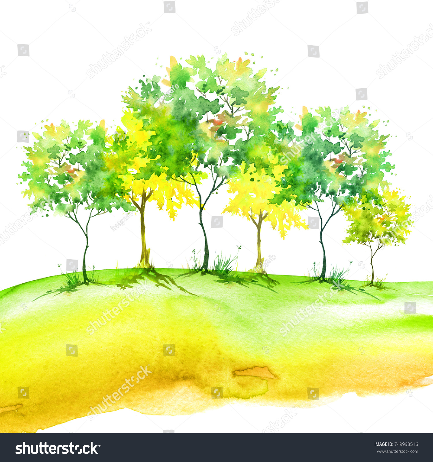 Watercolor Painting Group Green Yellow Trees Stock Illustration ...
