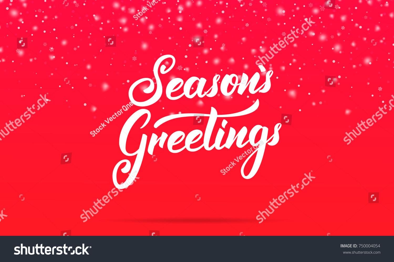 Christmas Seasons Greetings Lettering Design Winter Stock Vector