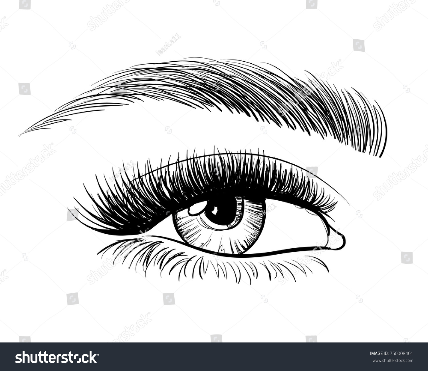 Handdrawn Beautiful Female Eye Sketch Black Stock Vector Royalty