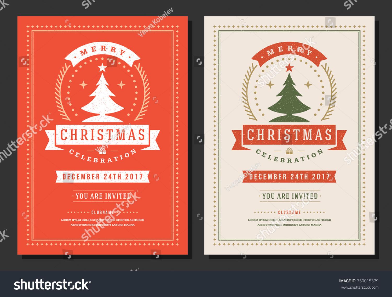 Christmas Party Invitation Retro Typography Decoration Stock ...