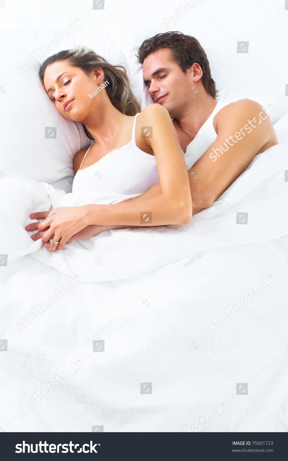Lovely Couple In Bed Lying In Bedroom Young Happy Couple Sleeping Bed Love Stock Photo 75001723