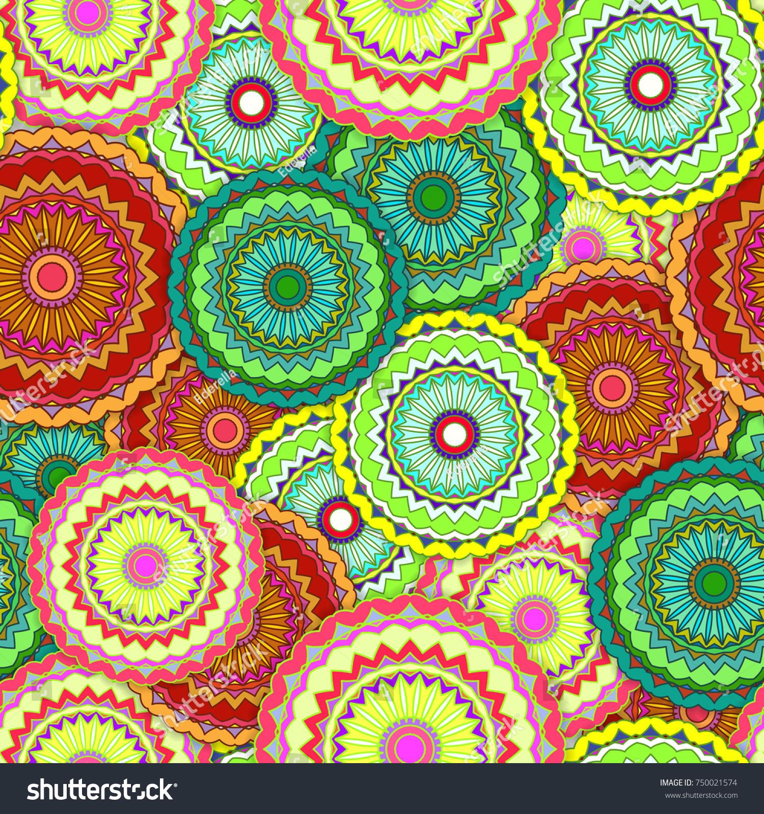 Seamless pattern with random scattered mandala. Bright colorful background,  islamic, arabic, muslim, japanese, eastern, oriental design. - Illustration