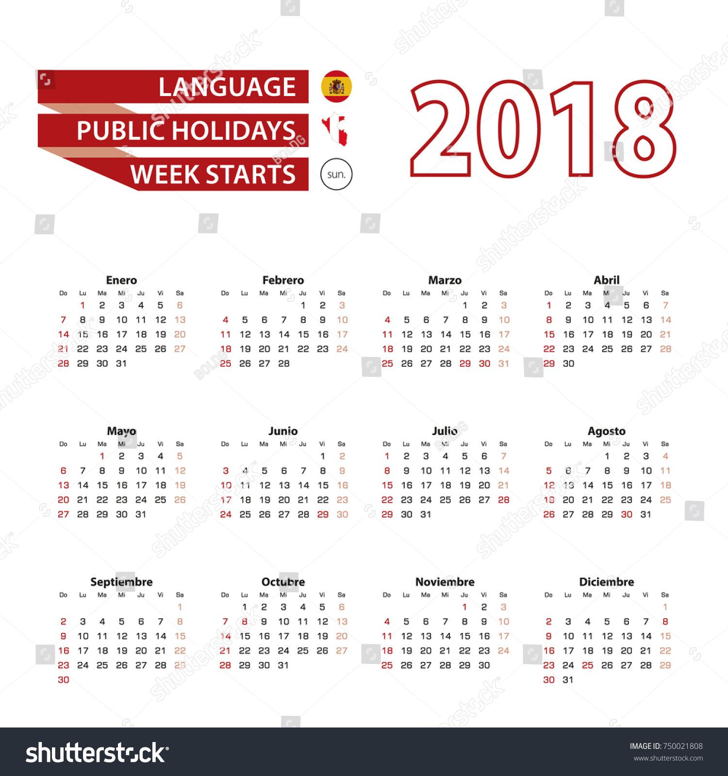 Weekly Calendar In Spanish : Calendar spanish language public holidays stock
