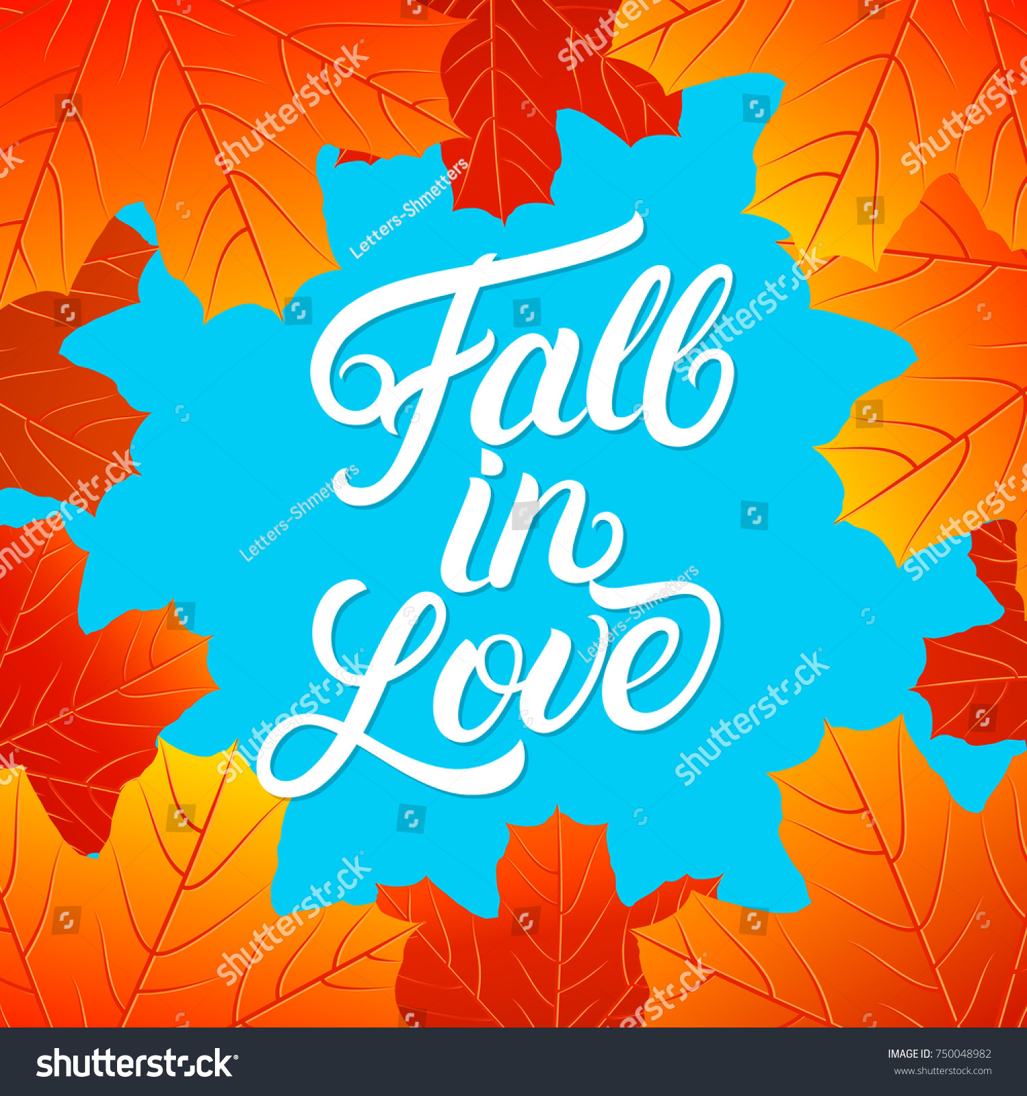 Fall Love Hand Written Lettering Quote Stock Illustration 750048982