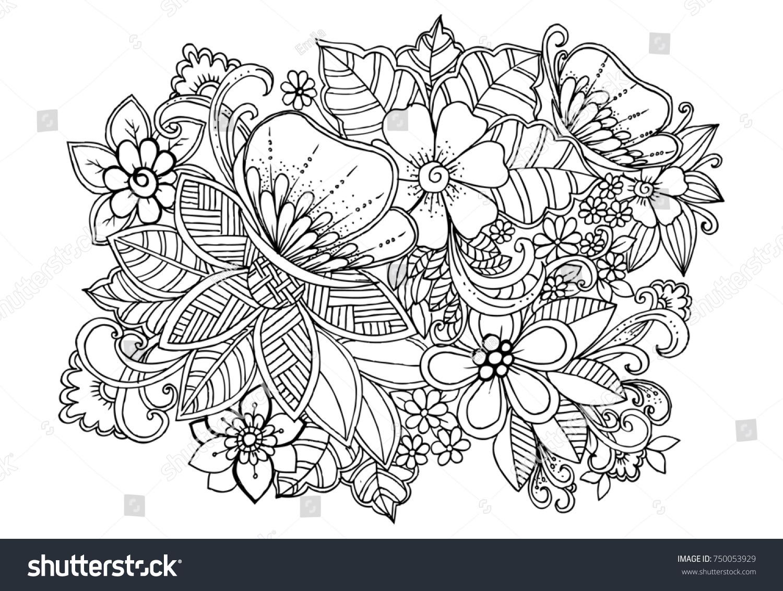 Tropical Wildlife Butterfly Flowers Black White Stock Illustration ...