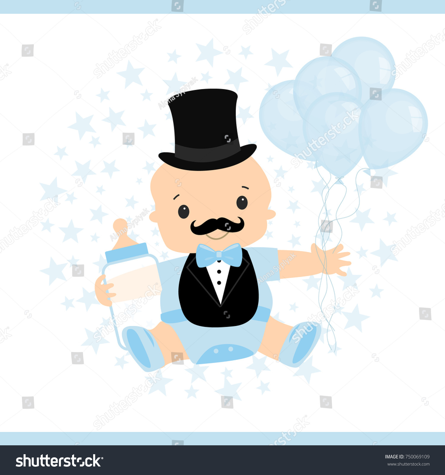 Vector Illustration Little Baby Little Mans Stock Vector (Royalty ...