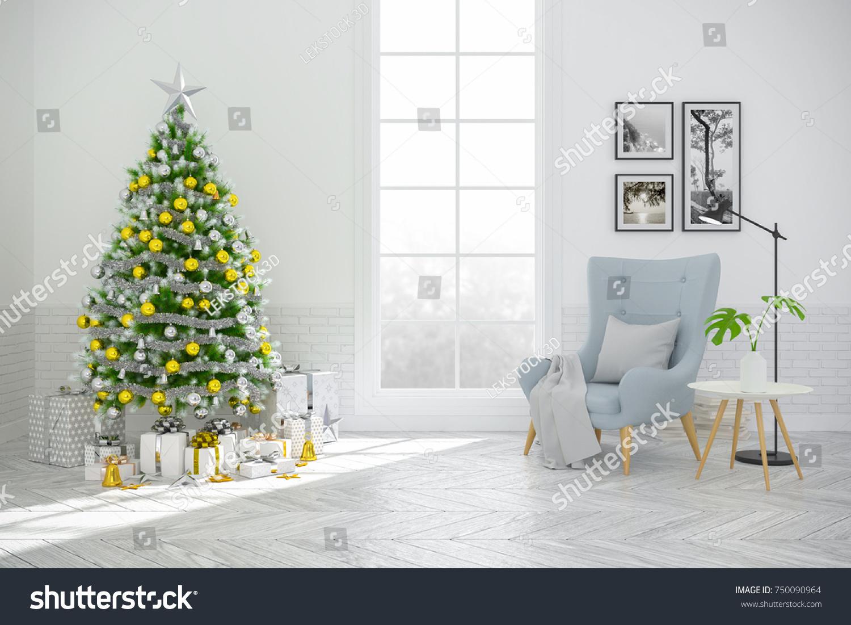 Christmas Tree Decorate On Scandinavia Living Stock Illustration ...
