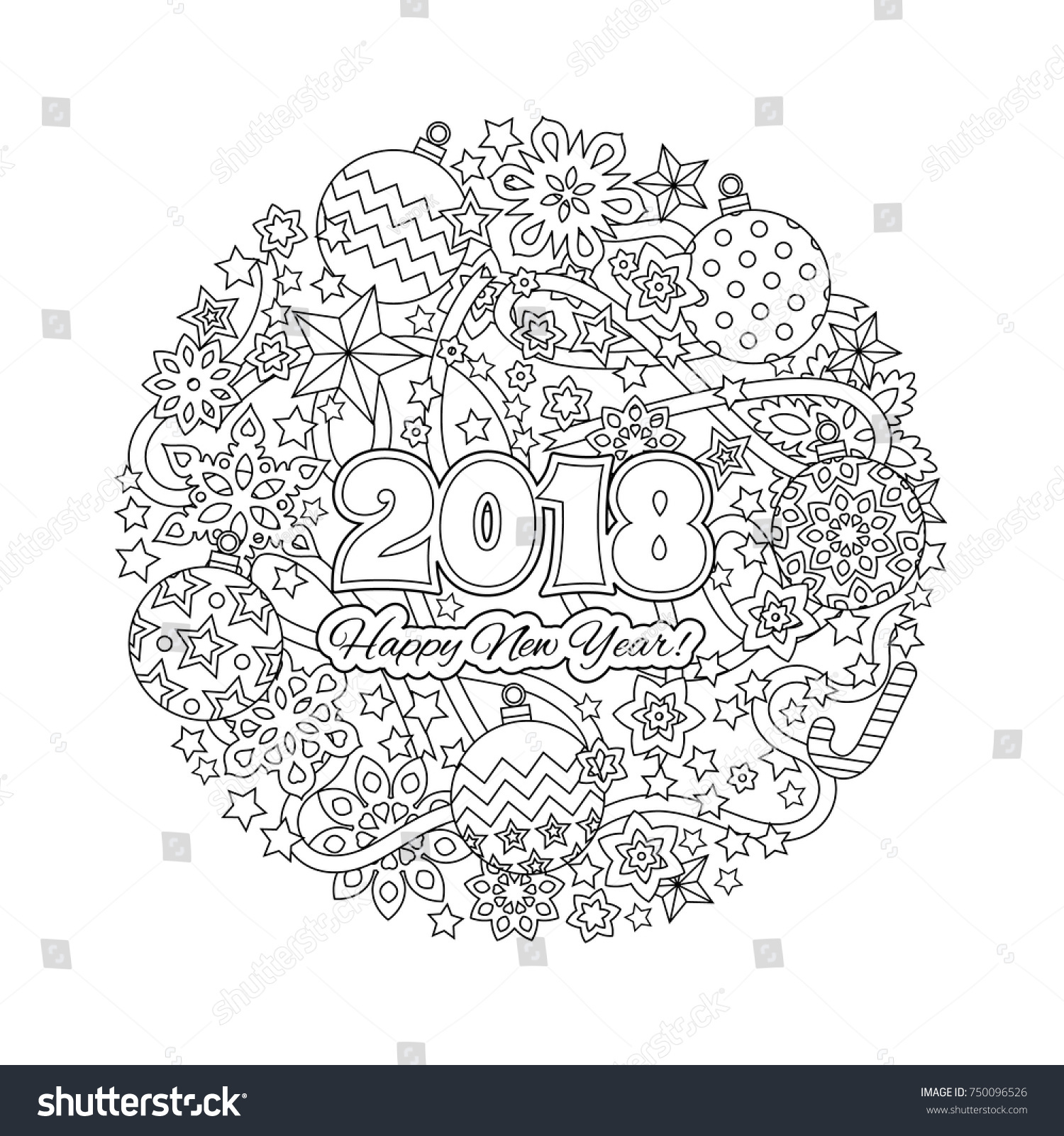 New Year Mandala With Numbers 2018 On Winter Snowflake Background Zentangle Inspired Style Zen