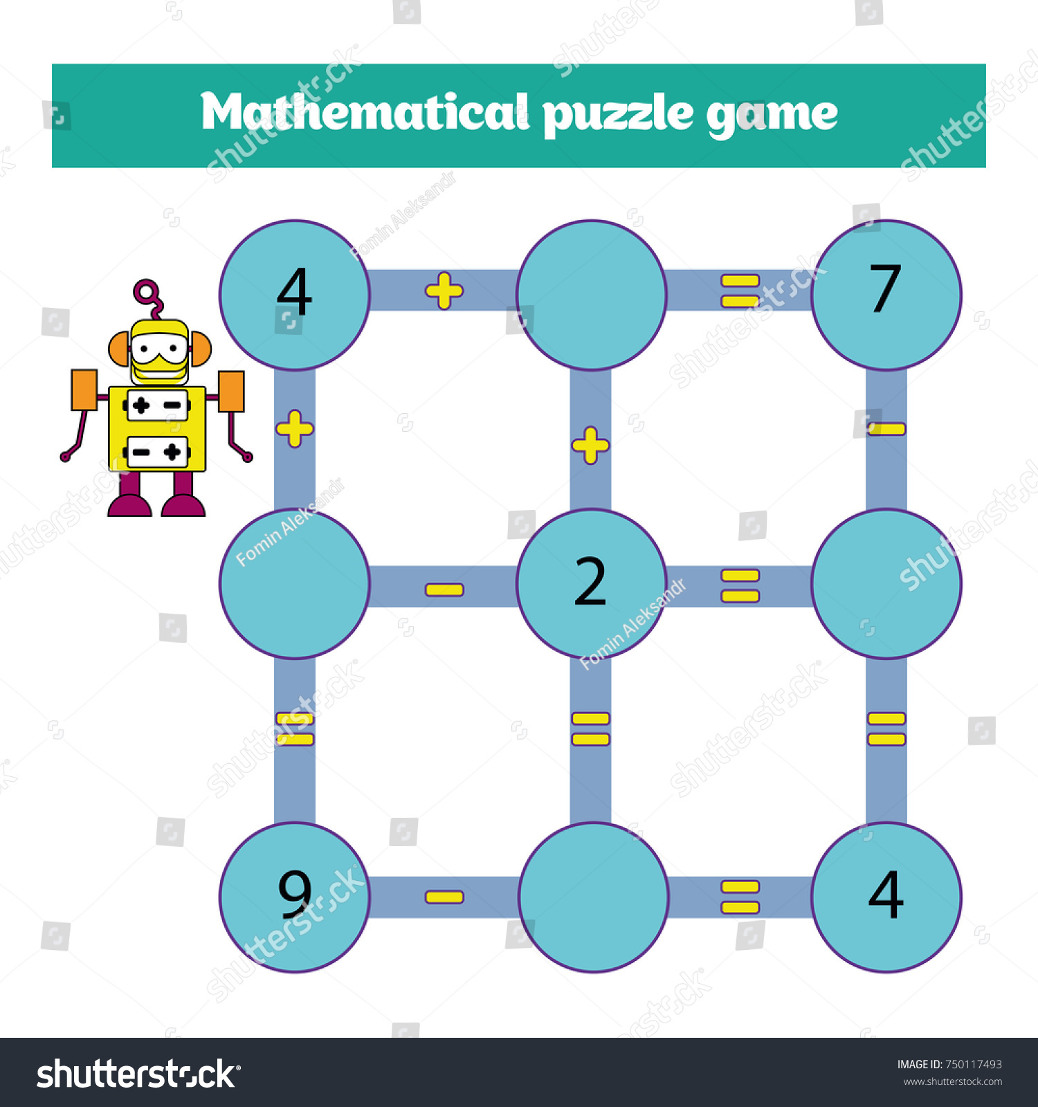 Mathematical Puzzle Game Learning Mathematics Tasks Stock Vector ...