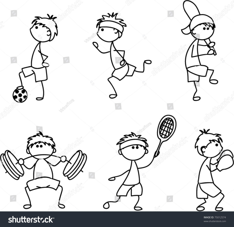 drawing sport cartoon icon children vector shutterstock