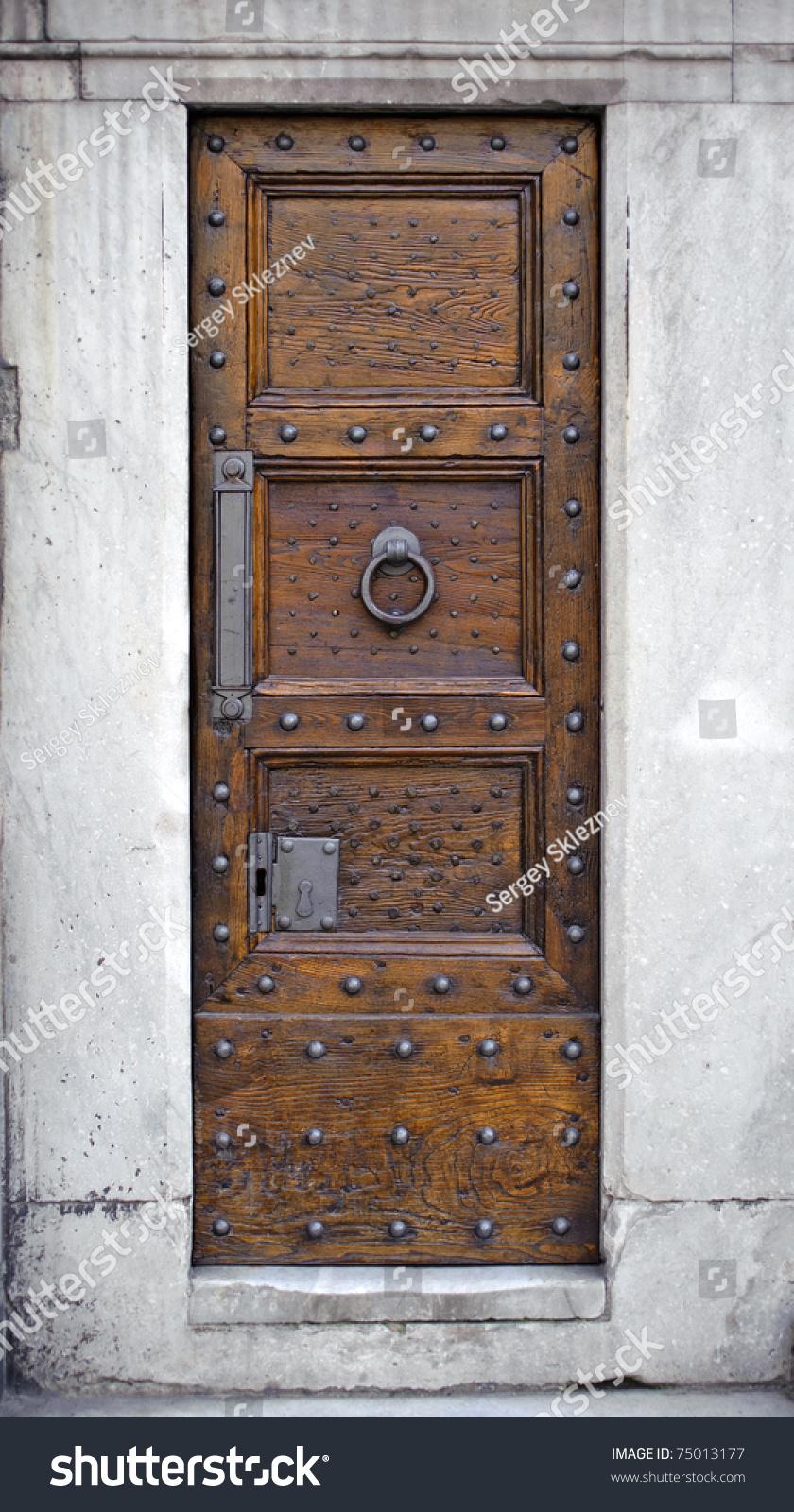 Antique Wooden Door Metal Knocker Rivets Stock Photo 75013177 ...