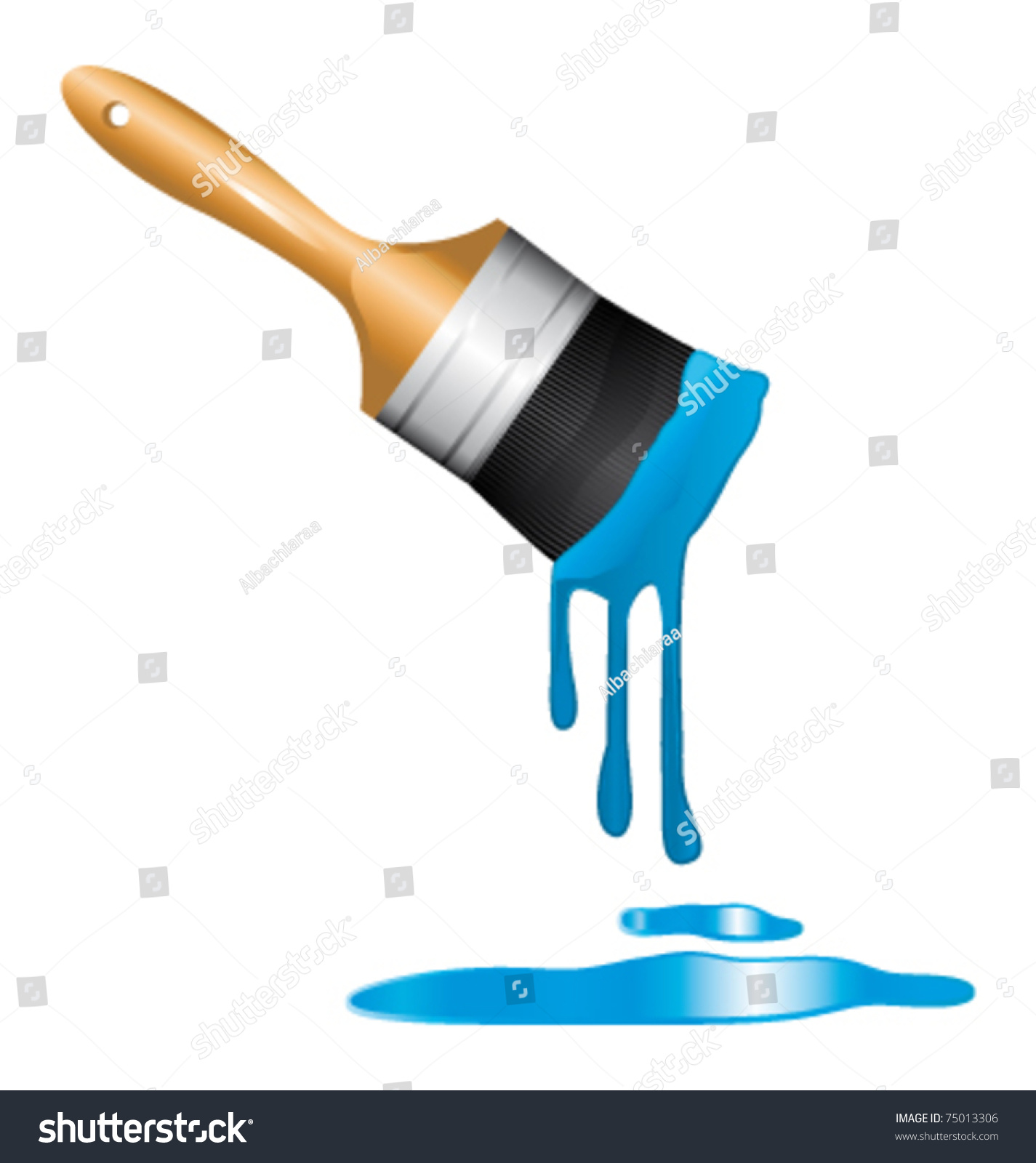 Brush Dipped In Blue Paint. Vector Icon.75013306 Shutterstock
