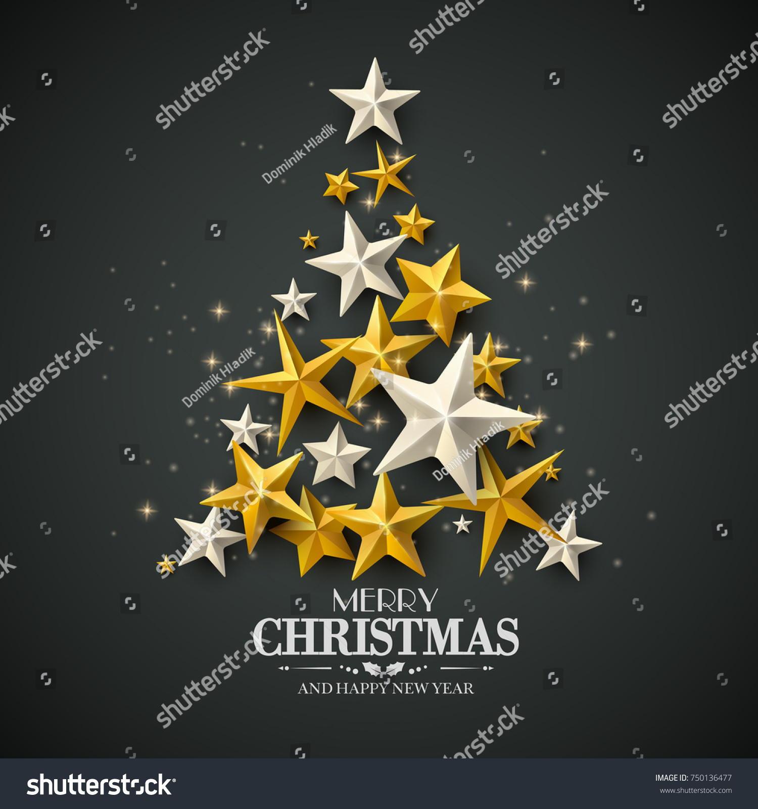Modern christmas greeting card stars baubles stock vector modern christmas greeting card with stars and baubles in the shape of a tree kristyandbryce Images
