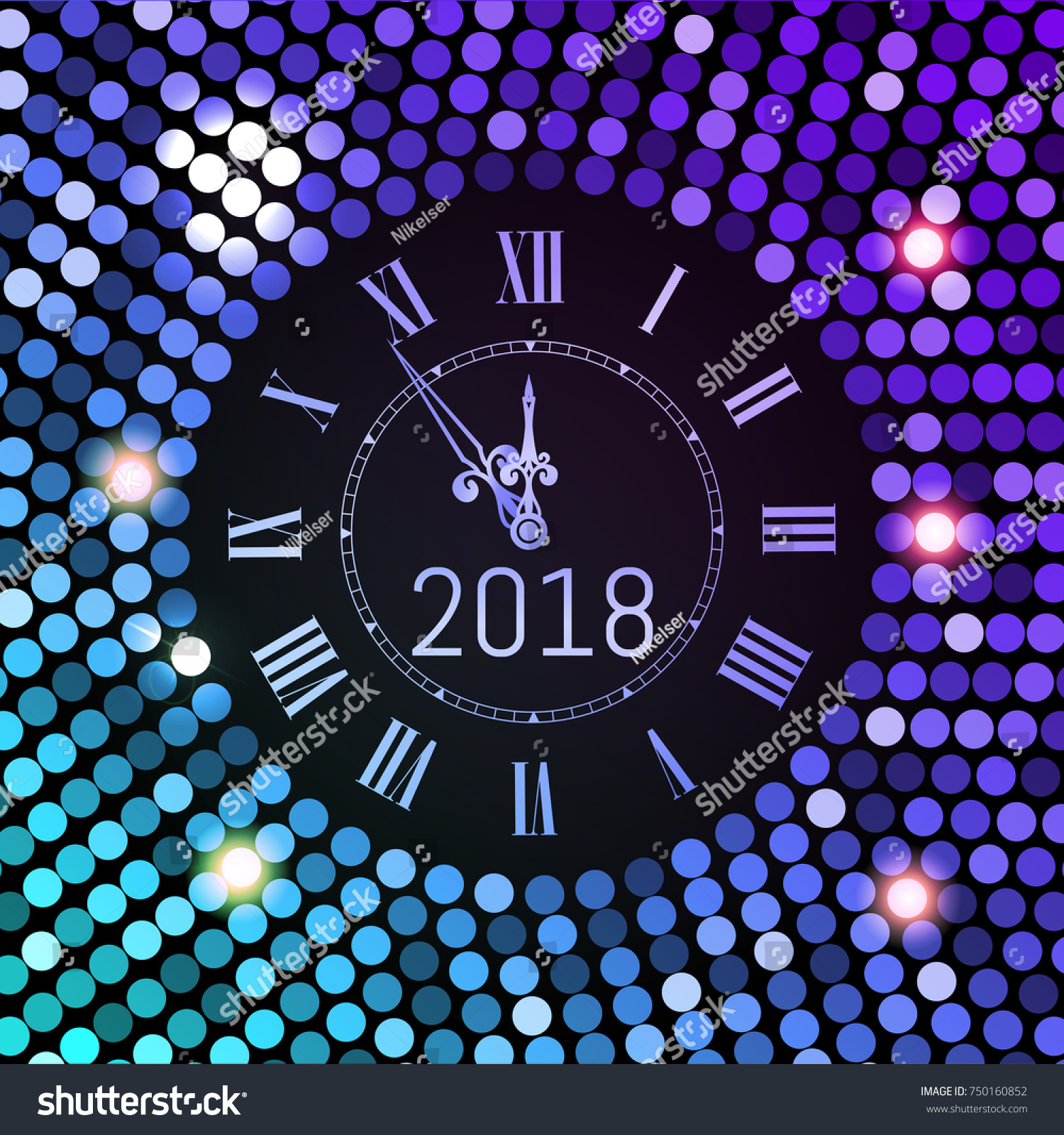 new year 2018 celebration background purple circle disco pattern background with clock number 2018
