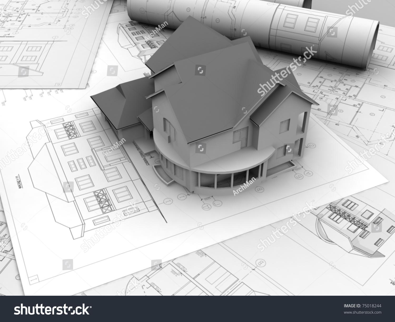 3d Plan Drawing Stock Photo 75018244 Shutterstock