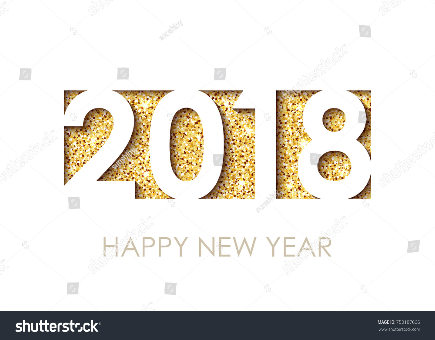 2018 happy new year text greeting stock vector 750187666 shutterstock 2018 happy new year text for greeting card calendar invitation white background with kristyandbryce Images