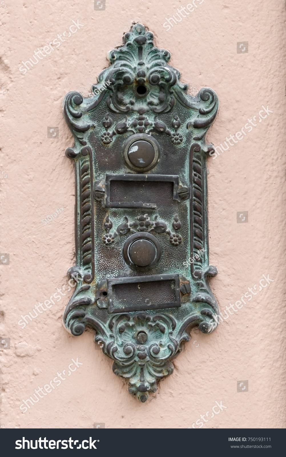 Old Vintage Door Bell With Name Plate