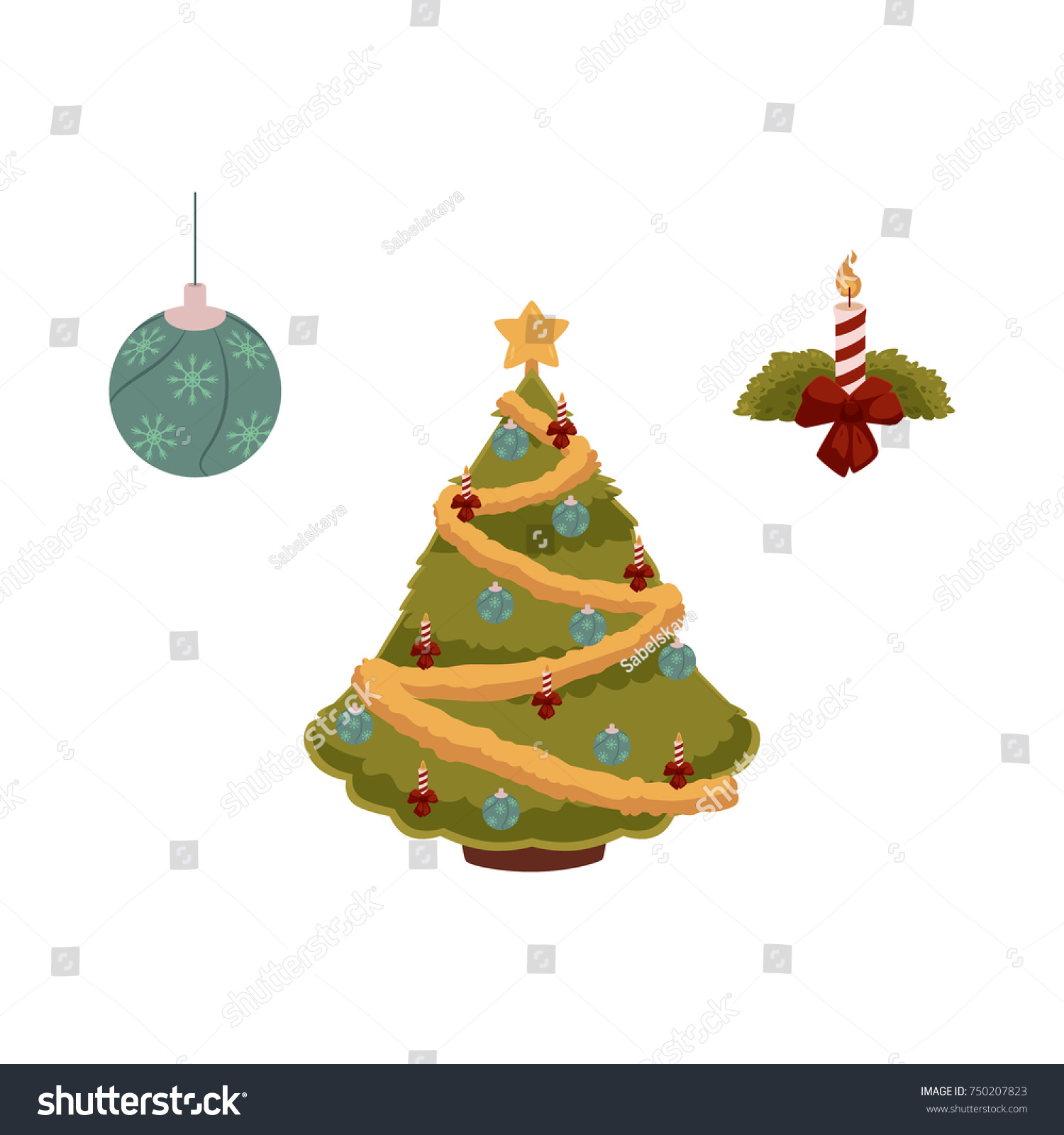 Vector flat christmas holiday new year stock vector 750207823 vector flat christmas holiday new year festive symbols set decorated spruce tree with balls biocorpaavc Image collections