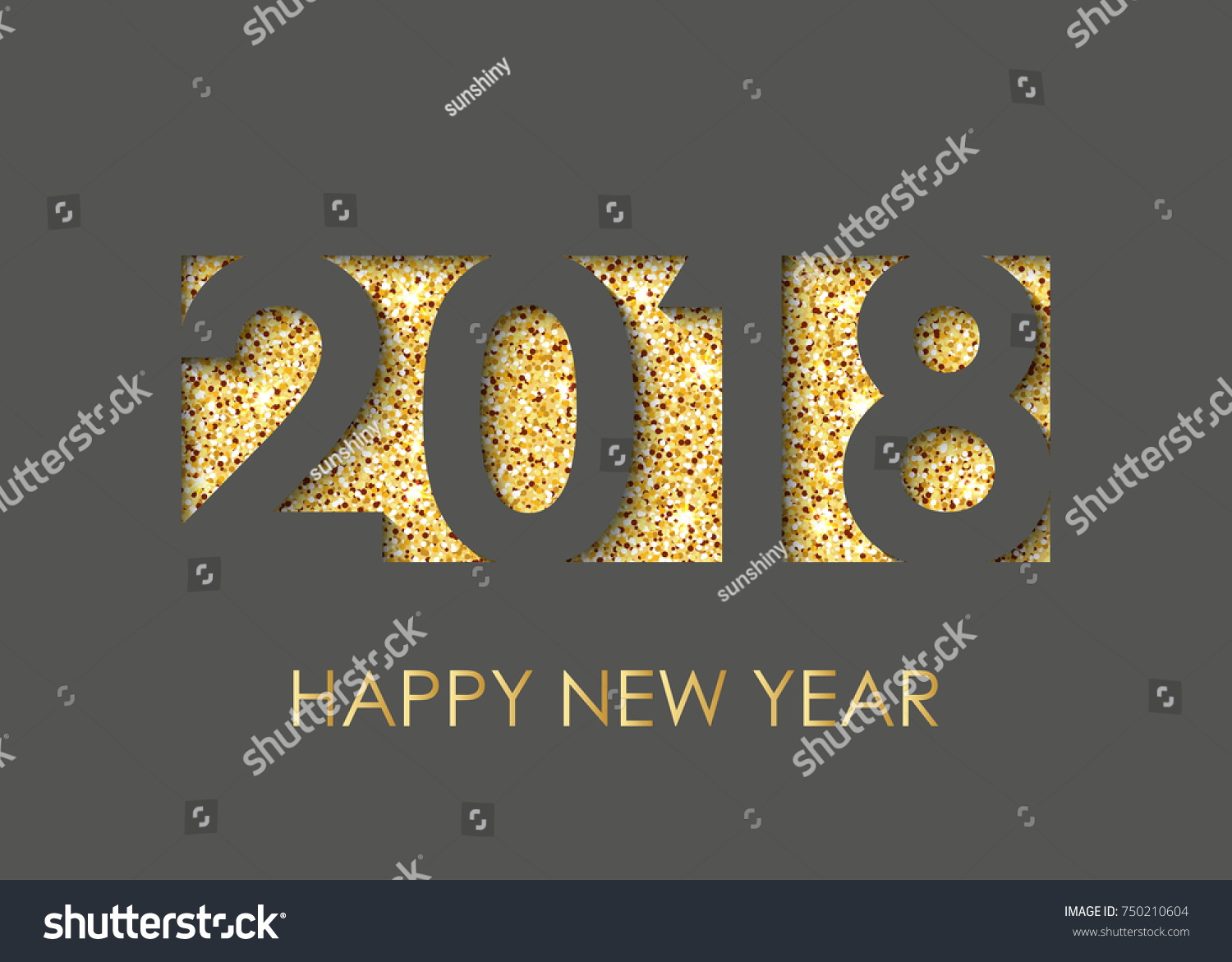 2018 happy new year text greeting stock vector 750210604 shutterstock 2018 happy new year text for greeting card calendar invitation black background with kristyandbryce Images