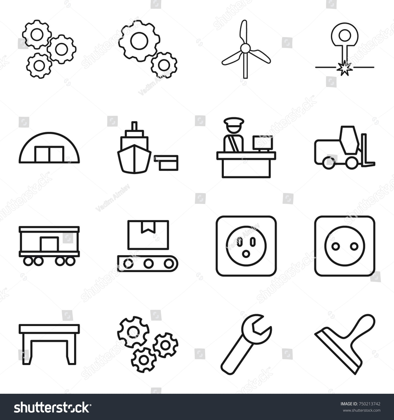 Thin line icon set gear windmill stock vector 750213742 shutterstock thin line icon set gear windmill laser hangar port customs pooptronica Gallery