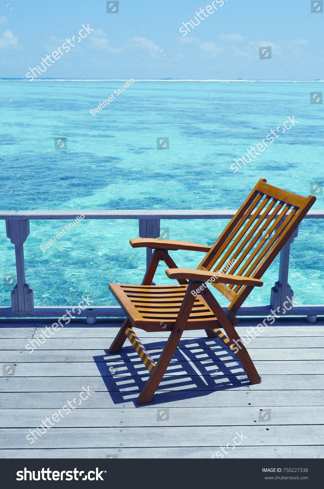 dc3fcd6bc4f Chair near ocean Tropical Holiday Banner. One deck chair on a sea view  balcony at