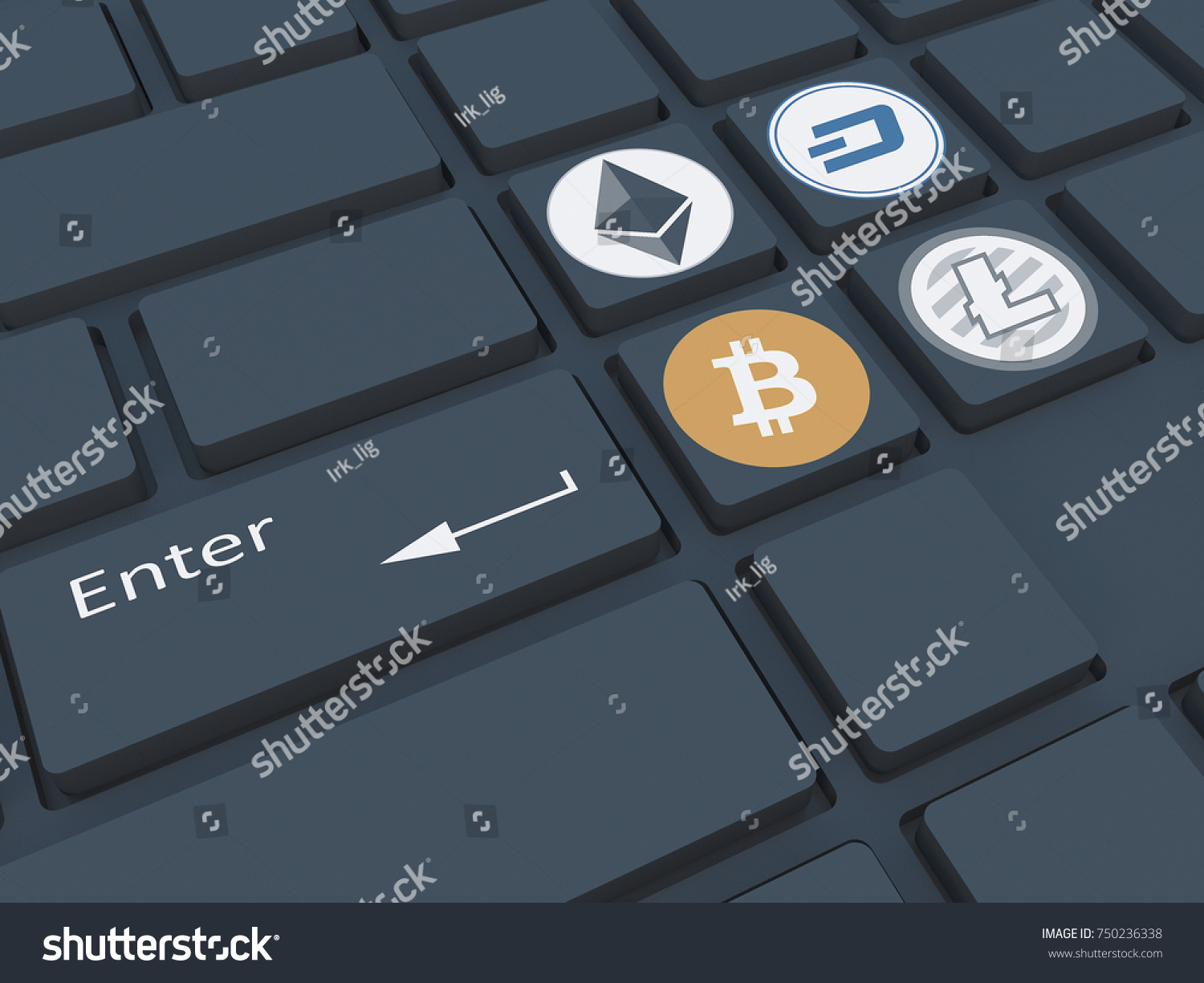 Crypto currency keyboard symbols mining crypto stock illustration keyboard with symbols mining of crypto currency on the computer 3d biocorpaavc Choice Image