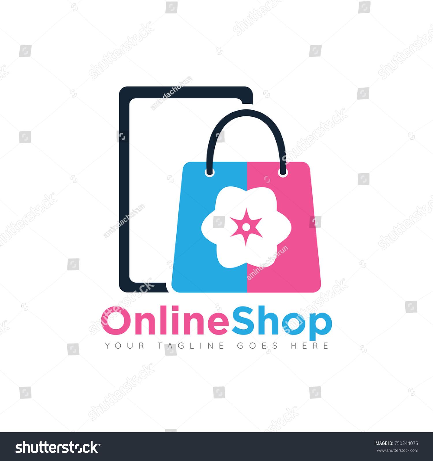 Online Shopping Bag Logo Design Template Stock Vector Royalty Free
